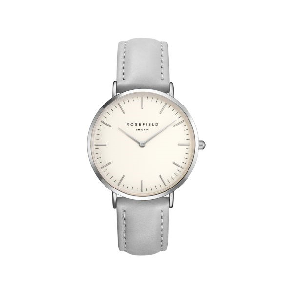 The Bowery White Grey Silver 38mm