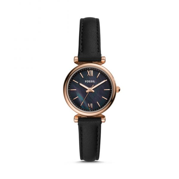 Carlie Mini Three Hand Black Leather Watch