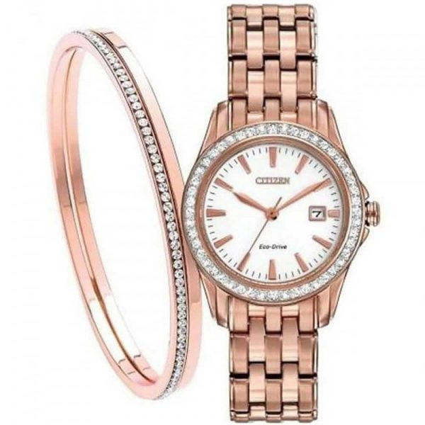 Ladies Silhouette Crystal Watch and Bangle Set