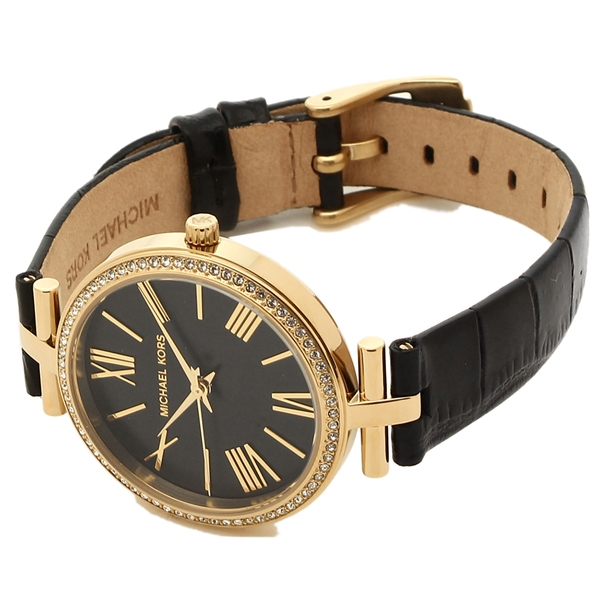 Maci Watch with Black Leather Strap