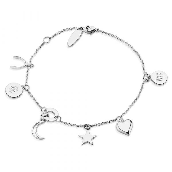 Amy Silver Plated Bracelet with Multi Charms (BL010SR)