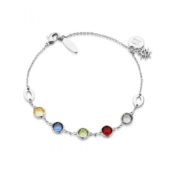 Amy Silver Bracelet with Coloured Stones (BL014SR)