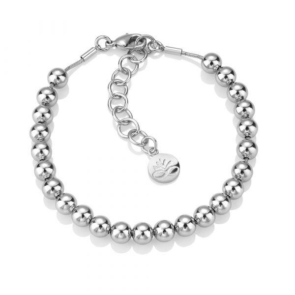 Rhodium Plated Small Beaded Bracelet (EOJ109SR)