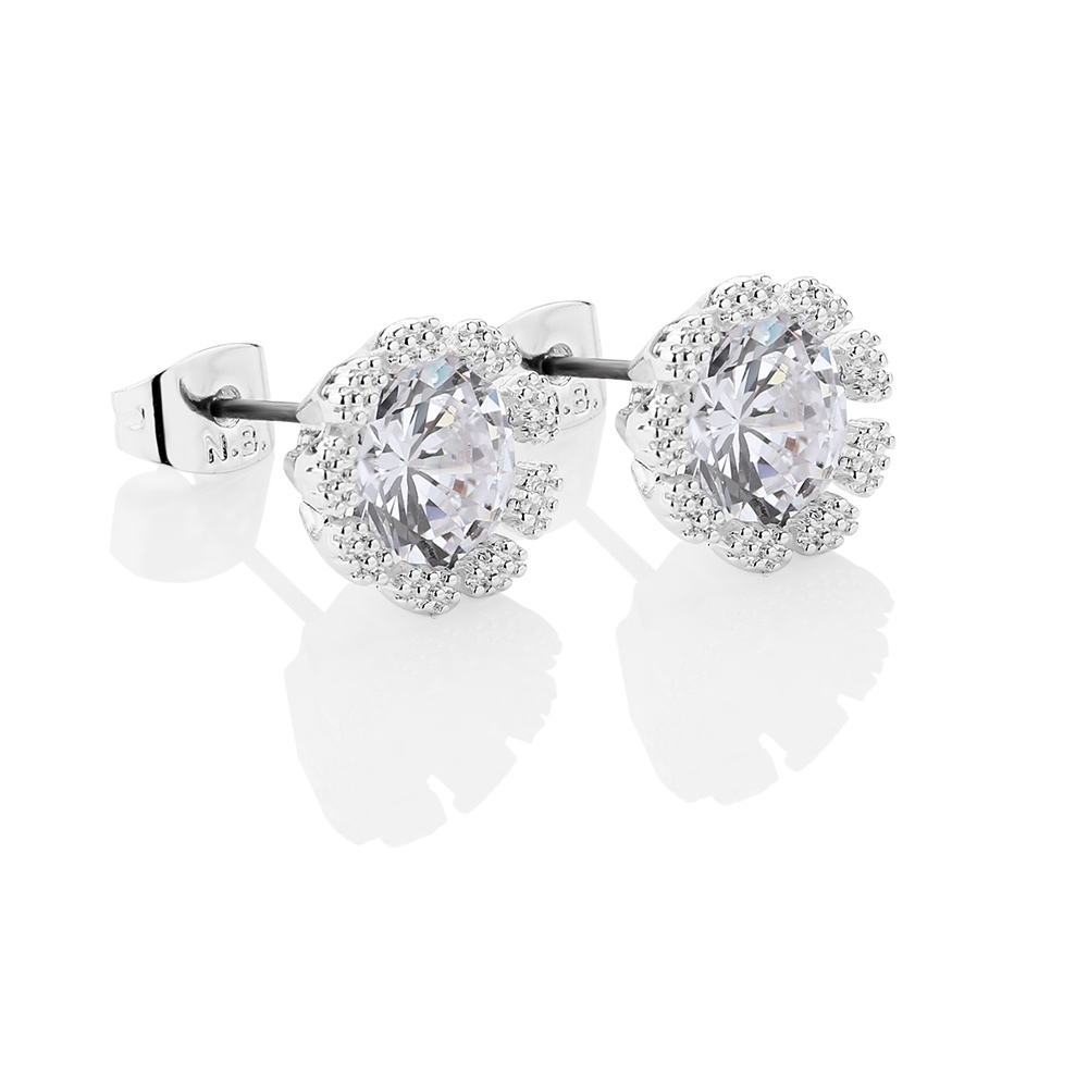 Small Flower Earrings with Clear Stones (ER1831C)