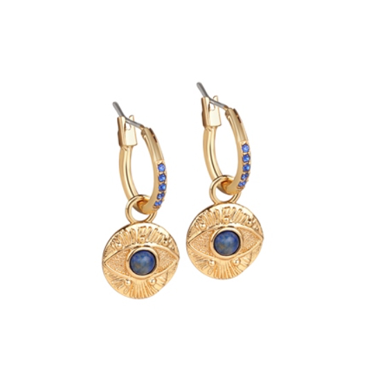 All Seeing Evil Eye Earrings Blue Stone (ER2801)