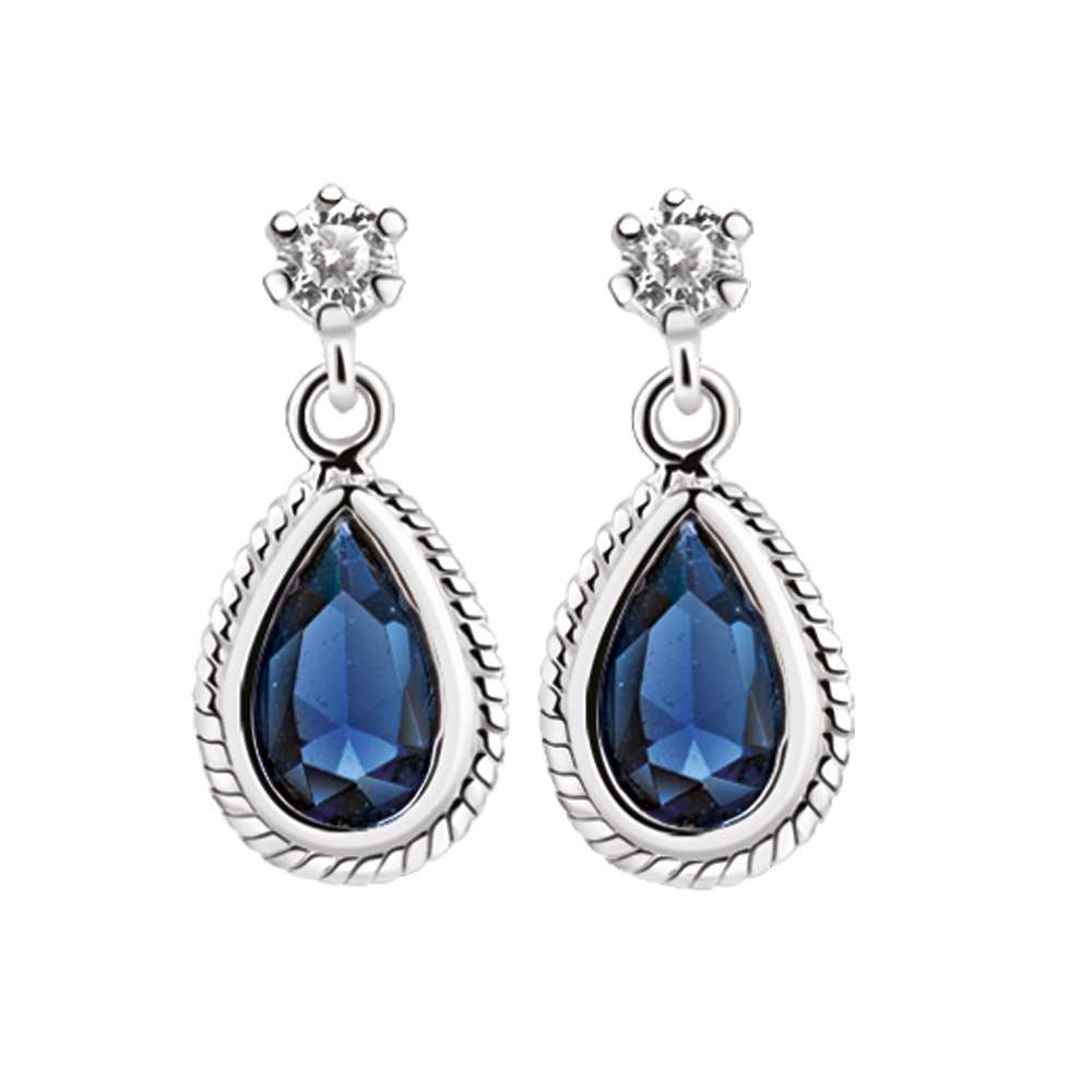 Earrings with Clear and Sapphire Blue Stones (ER403SB)