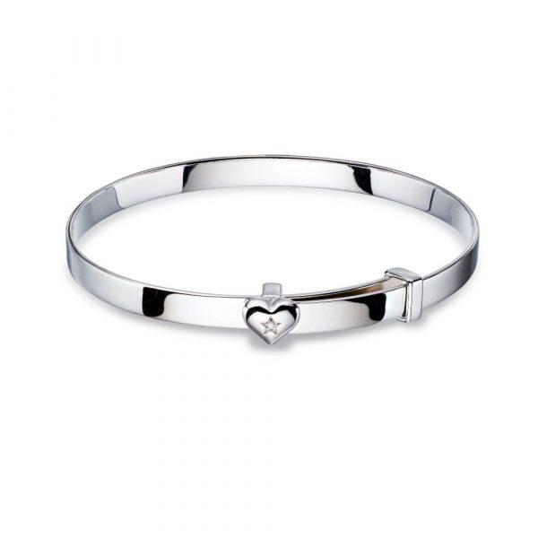 Gisele - Diamond Heart Christening Bangle (LSB0007)