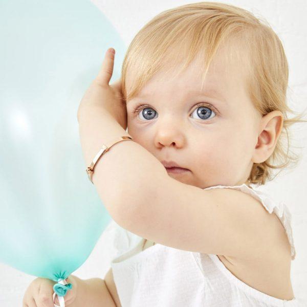 Gracie Rose Gold Diamond Star Christening Bangle (LSB0102)