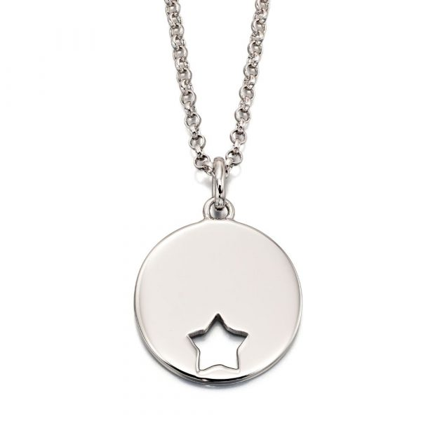 Gia Adults Cut Out Star Disc Pendant and Chain (LSN0050)