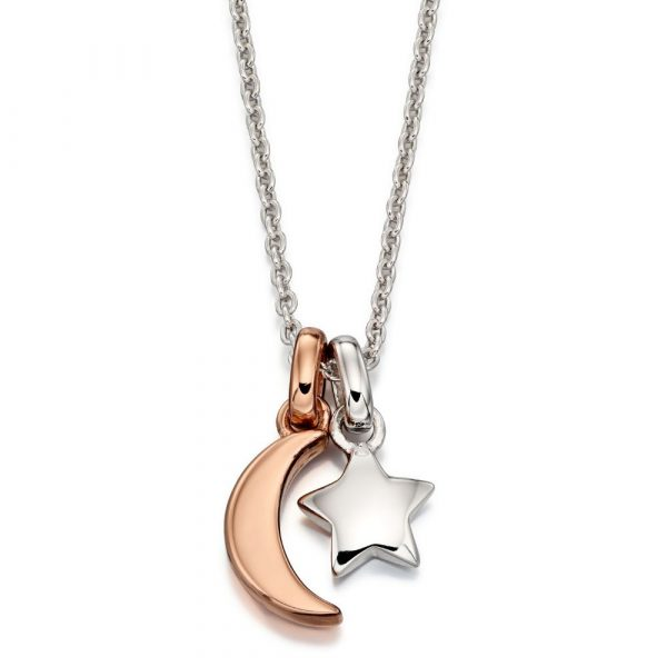 Collette Rose Gold Plated Double Star and Moon Necklace (LSN0123)