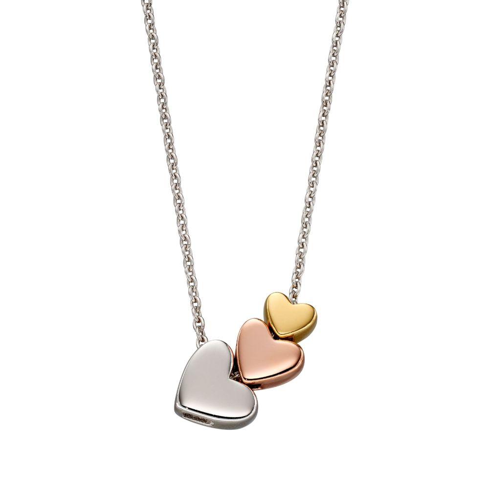 Elisa 3 Coloured Heart Necklace (LSN0233)