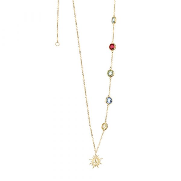 Amy Gold Plated Necklace with Coloured Stones (NL014)