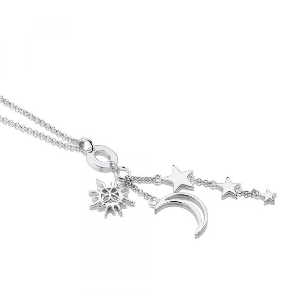 Amy Silver Plated Necklace with Sun, Moon and Stars Charms (NL060SR)