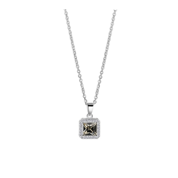 Square Pendant with Clear Black Stones (P1253)