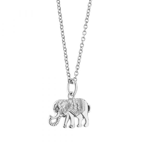 Amy Silver Plated Pendant with Elephant (P3001EPTSR)