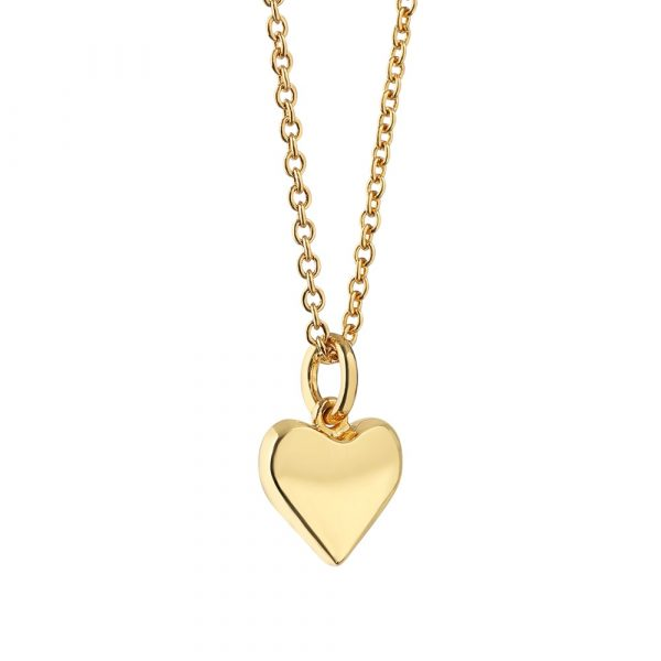 14k gold plated heart charm pendant with a protective anti tarnish layer, representing love, presented in a Newbridge Silverware gift box. Product dimensions Heart 10mm diameter chain length 570mm including a slider mechanism for easy adjustment .