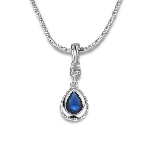 Drop Pendant with Clear and Sapphire Blue Stone (P423SB)