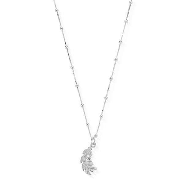 Bobble Chain Heart in Feather Necklace (SNBB596)