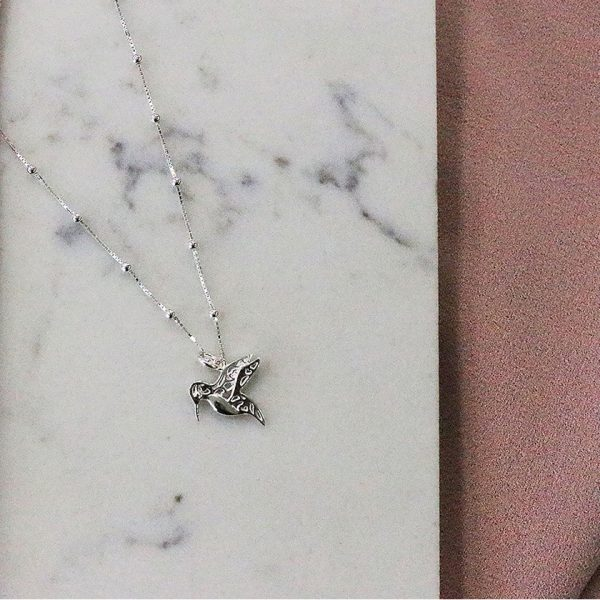Bobble Chain Hummingbird Necklace (SNBB670)