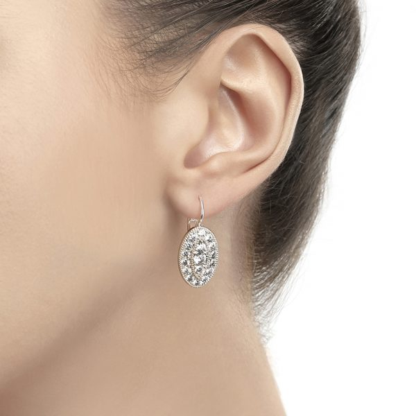 Oval Earrings with Clear Stones (VER1242)
