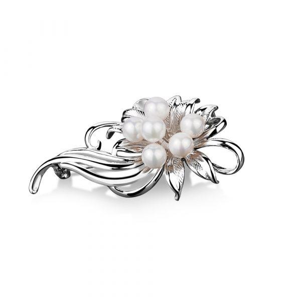 Princess Grace Pearl Cluster Floral Brooch (VGK138015)