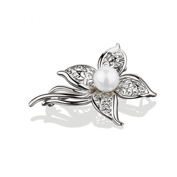 Princess Grace Pearl Floral Brooch (VGK138404)