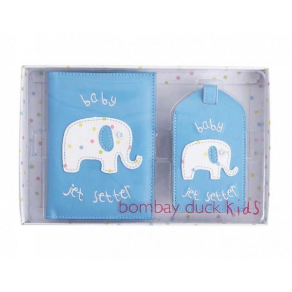 Baby Passport Cover and Luggage Tag Gift Set in Blue (BAK011)
