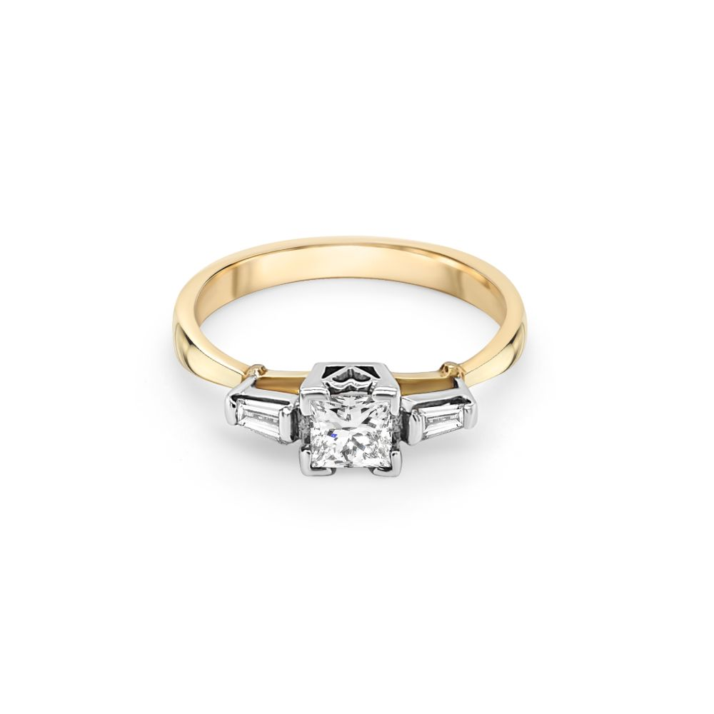 18ct Yellow and White Gold Three Stone Engagement Ring