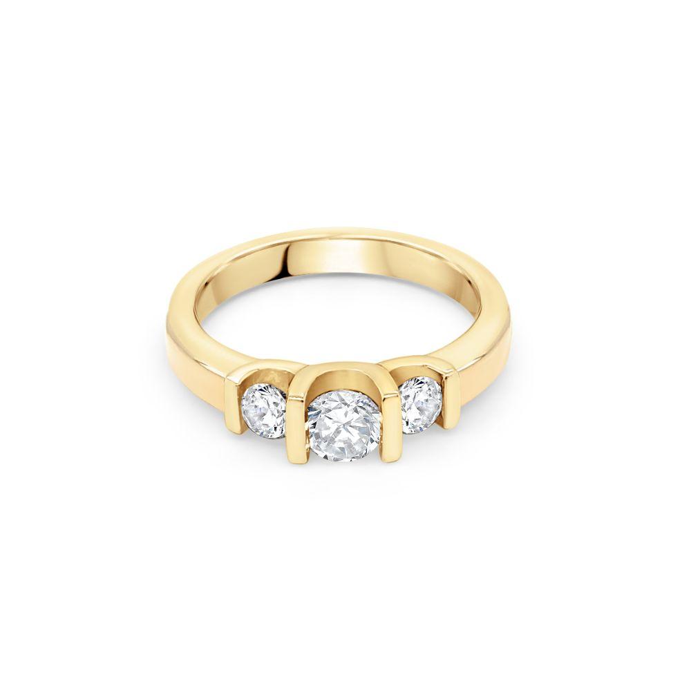 18ct Yellow Gold Three Stone Engagement Ring