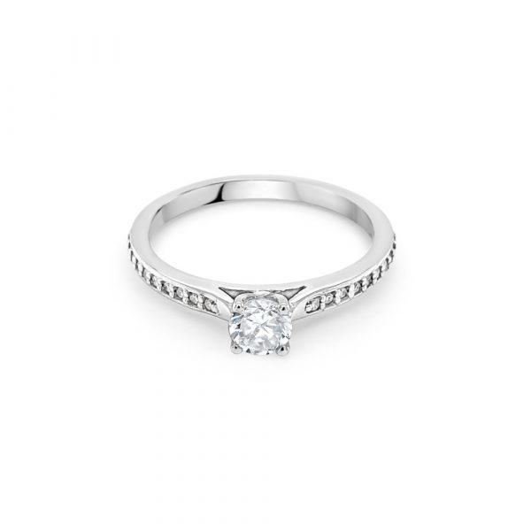 18ct White Gold Centre with Shoulders Engagement Ring