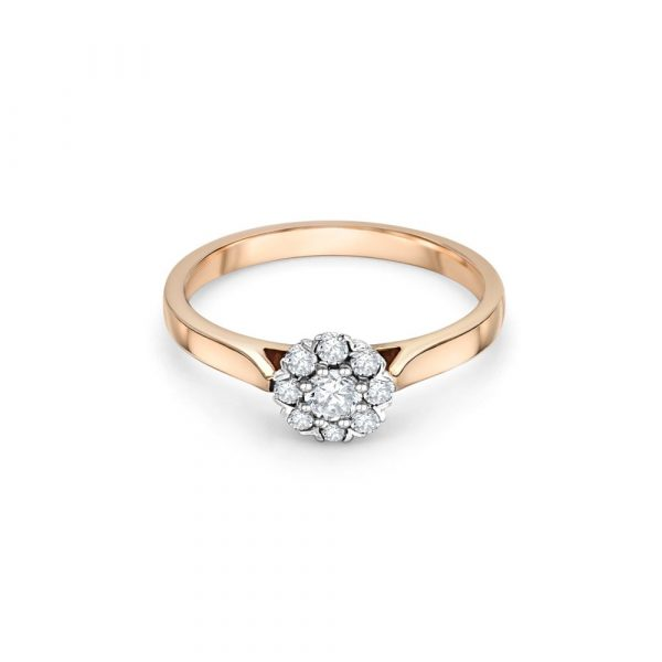 18ct Rose Gold Halo Engagement Ring