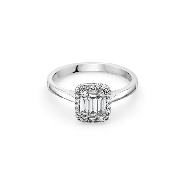 18ct White Gold Centre Stone with Shoulders Engagement Ring