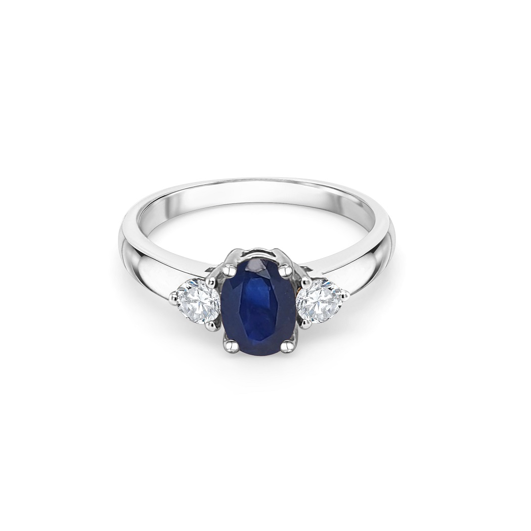 9ct White Gold Sapphire Dress Ring