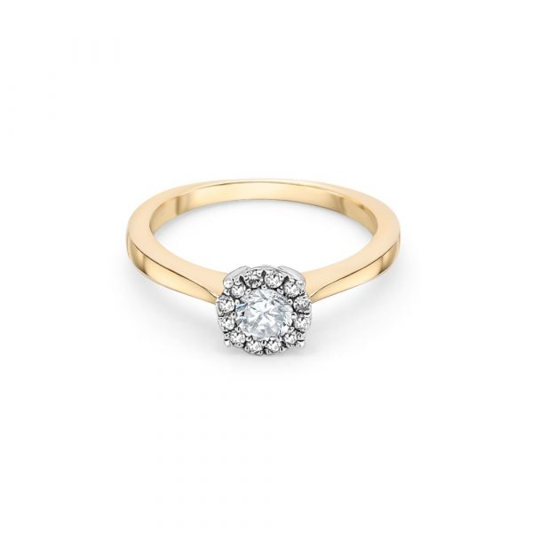 9ct Yellow and White Gold Halo Engagement Ring