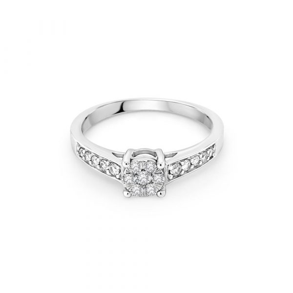 9ct White Gold Halo Engagement Ring