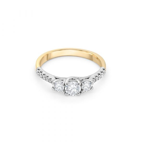18ct Yellow and White Gold Three Stone Engagement