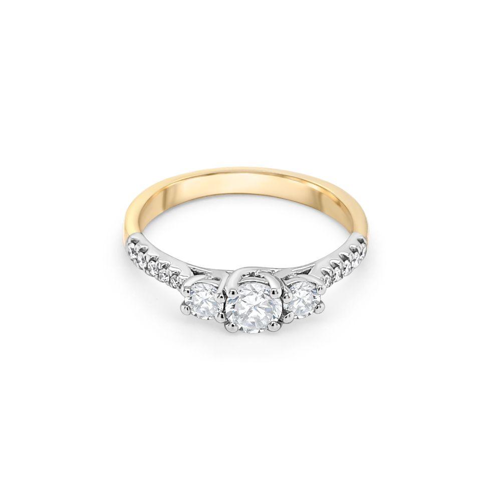 18ct Yellow and White Gold Three Stone Engagement