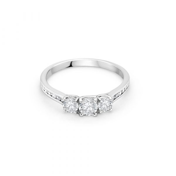 18ct White Gold Three Stone Engagement Ring