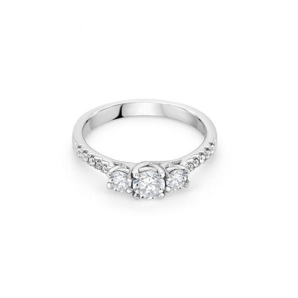 18ct White Gold Three Stone Engagement Ring