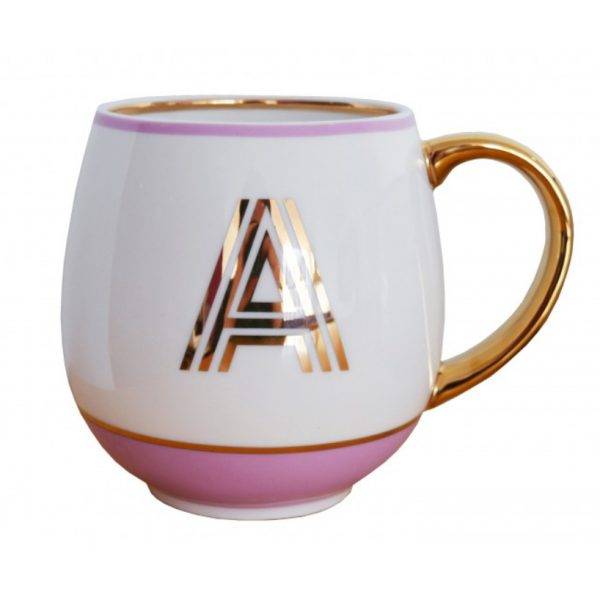 Library Monogram Mug Letter A Blush Pink (VIA104A)