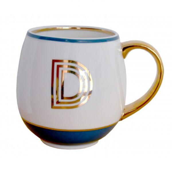 Library Monogram Mug Letter D Petrol Blue (VIA104D)
