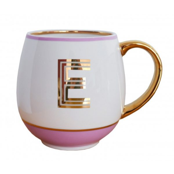 Library Monogram Mug Letter E Blush Pink (VIA104E)