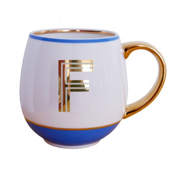 Library Monogram Mug Letter F Cornflower Blue (VIA104F)