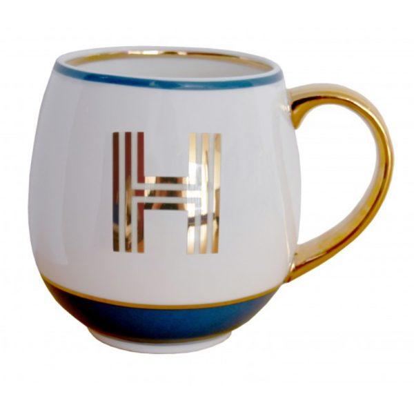 Library Monogram Mug Letter H Petrol Blue (VIA104H)