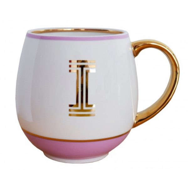 Library Monogram Mug Letter I Blush Pink (VIA104I)