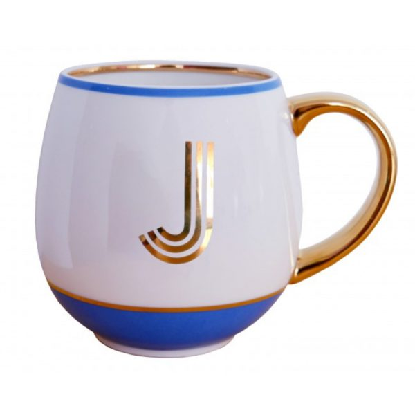 Library Monogram Mug Letter J Cornflower Blue (VIA104J)