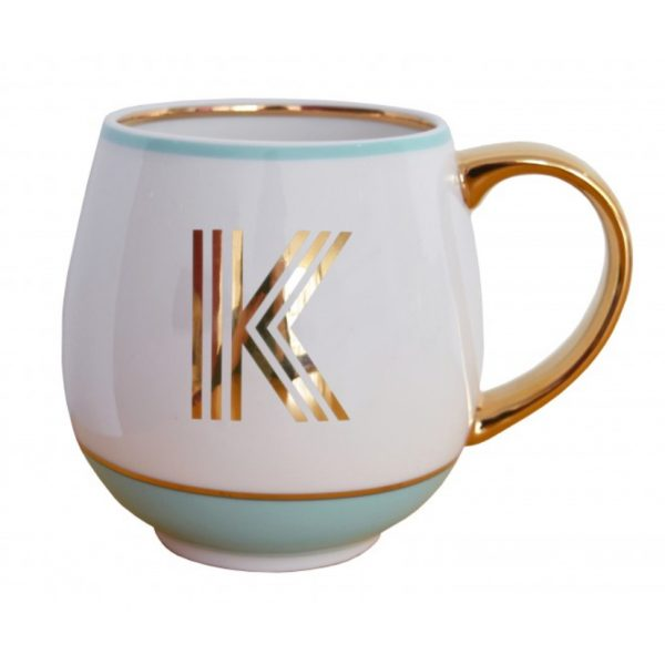 Library Monogram Mug Letter K Mint (VIA104K)