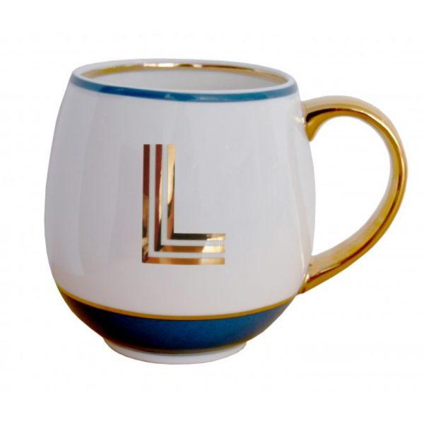 Library Monogram Mug Letter L Petrol Blue (VIA104L)