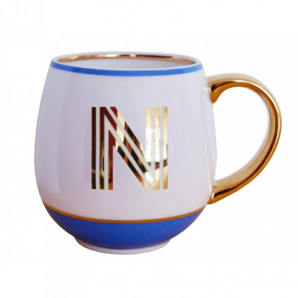Library Monogram Mug Letter N Cornflower Blue (VIA104N)