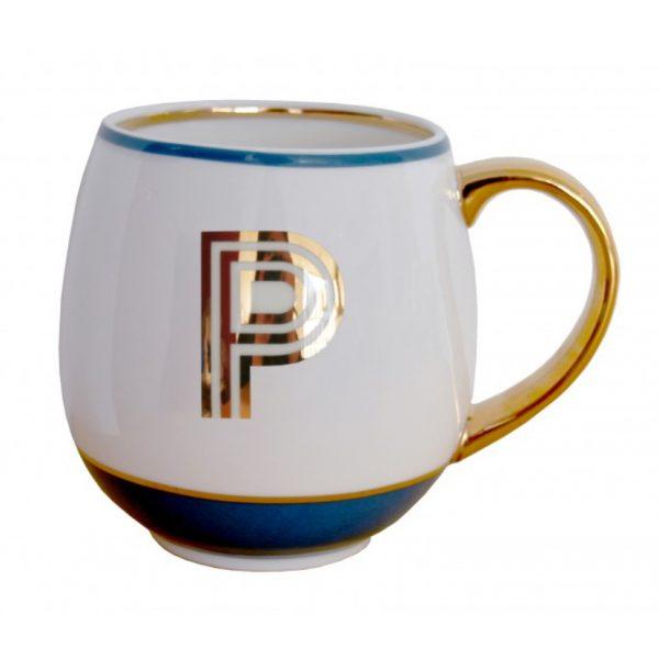 Library Monogram Mug Letter P Petrol Blue (VIA104P)